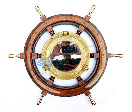 Nautical Hand Crafted Wooden Ship Wheel With Antique Brass Porthole Mirror | Nagina International (30 Inches) by Nagina International