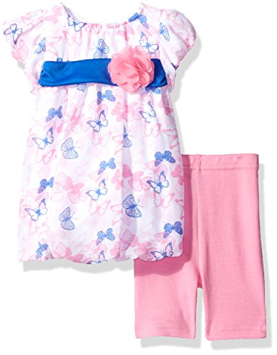Butterflies Capri Girls Baby Clothes (Bon Bebe Baby Girls' 2 Piece Chiffon Bubble Dress Set With Capri Pants, Pink/Blue Butterflies, 24 Months)
