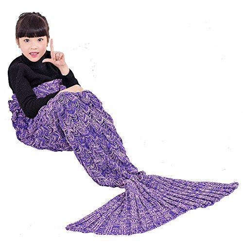 UMEICOOL Mermaid Blanket Sleeping Bags All Seasons for Kids (Purple kids) (Easy Mermaid Costume)