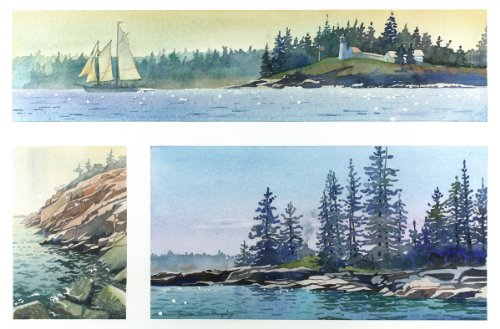 Maine--three Views, Giclee Print of a Seascape Watercolor Painting, Three Pictures of the Rocky Coast of Maine, 13 X 20 (Landscape Painting Signed)
