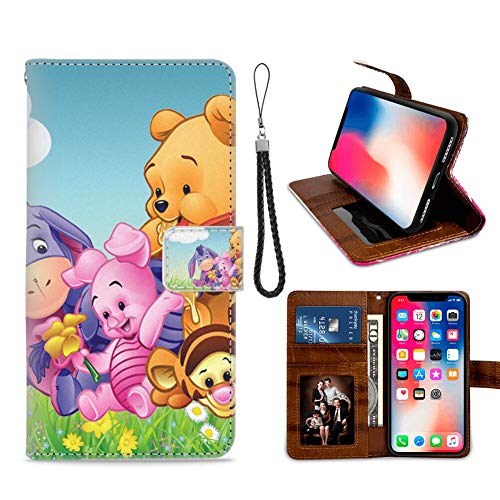 DISNEY COLLECTION Wallet Case with Magnetic Closure Compatible with iPhone Xs | iPhone X | iPhone 10 5.8 Version Cartoon Winnie The Pooh Tigger Piglet and Eeyore Babies HD Wallpaper Popular