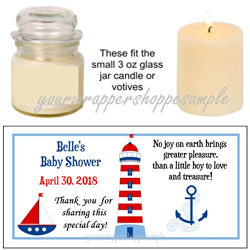 56 Nautical Sailor Baby Shower Candle Party Favor Labels It's a (Nautical Baby Shower Favors)