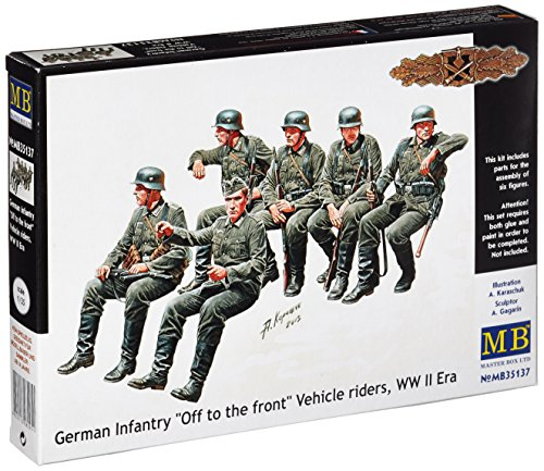 Master Box WWII German Infantry Off the Road Vehicle Riders (6) Figure Model Building Kits (1:35 Scale)