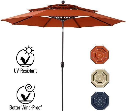 PHI VILLA 10ft Patio Umbrella Outdoor 3 Tier Vented Table Umbrella with 8 Sturdy Ribs Orange Red