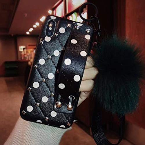 Price comparison product image iPhone Xs Bling Fur Ball Case, Aulzaju iPhone X Luxury Shiny Shockproof Case Polka Dot Soft TPU Strip Cover for iPhone X / Xs for Girls Women (iphone X / iphone xs 5.8 inch,  Black Dot)