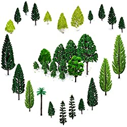 OrgMemory 29pcs Mixed Model Trees 1.5-6 inch(4 -16 cm), Ho Scale Trees, Diorama Supplies, Model Train Scenery, Fake Trees for Projects, Woodland Scenics with No Bases