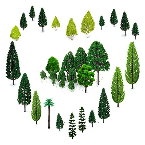 OrgMemory 29pcs Mixed Model Trees 1.5-6 inch(4 -16 cm), Ho Scale Trees, Diorama Supplies, Model Train Scenery, Fake Trees for Projects, Woodland Scenics with No Bases ()
