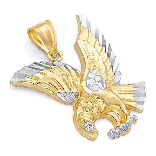 14k Two Tone Gold Eagle Pendant