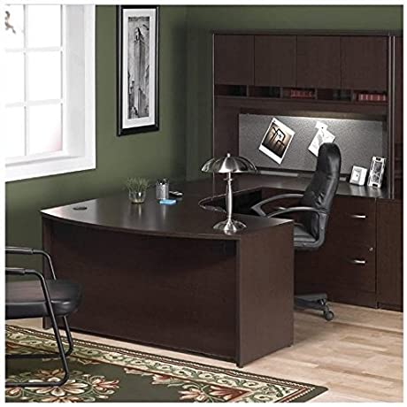 Bush Furniture Corsa Series Home Office Right Facing U Shape Computer Desk Set In Mocha Cherry Finish