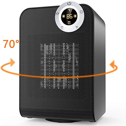 Electric Ceramic Heater with Digital Thermostat and ON/Off Timer, 1500W Portable Oscillating Space Heater, Perfect for Indoor Home, Office, or Under Desk