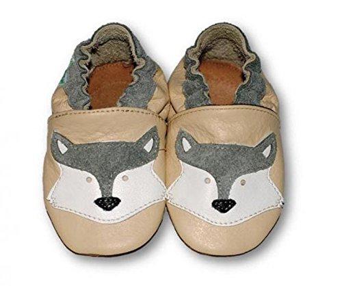 Fiorino piel–Patucos de zapatos de bebé lauflern–Zapatos de motivos en diferentes colores y Tamaños azul Fuchs Blau Talla:L Fuchs Beige