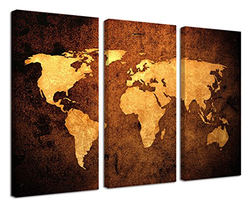 Ardemy Canvas Wall Art Prints Shinny Gold Abstract Map of The World 12 by 24 Inches 3 Pieces/Set Wood Gallery Wrapped Painting Art Work for Living Room Bedroom Home and Office Decoration (Gallery 3 Piece)