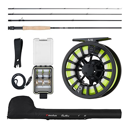 Piscifun Fly Fishing Rod and Reel Combo Fly Fishing Complete 5/6 Starter Package fly fishing kit for beginners (Combo Fly)