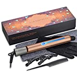 Pro Upgraded 2-in-1 Hair Straightener & Curing Iron 1 inch Argan Oil Tourmaline