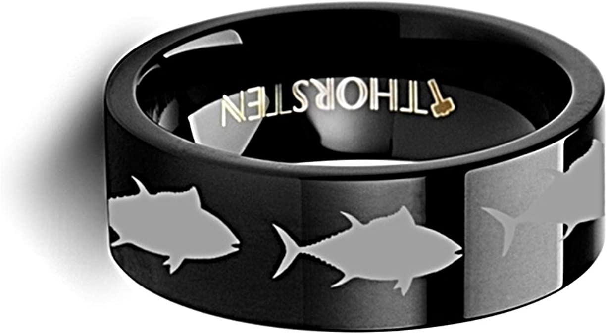 Thorsten Wildlife Sport Fishing Trout Fish Jumping Print Pattern Ring Black Tungsten Ring 8mm Wide Wedding Band from Roy Rose Jewelry