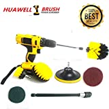7 Piece Drill Scrub Kit Grout Brush Drill Brush Set with 6 inch Extender Scrub Brush for Grout Floor Tub Shower Tile Corners