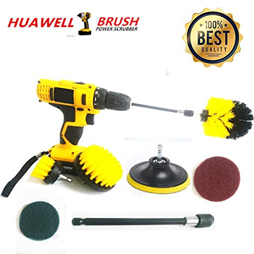 - 7 Piece Drill Scrub Kit Grout Brush Drill Brush Set with 6 Inch Extender Scrub Brush for Grout Floor Tub Shower Tile Corners Bathroom Surface Kitchen