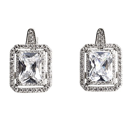 Pop Fashion 18k Gold, Princess Cut, Cubic Zirconia, Bridal, Halo, Silver, Stud Earrings