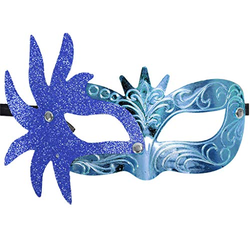 Irene Carnival Mask Masquerade Masks Beauty Mardi Gras Party Costume Festival Party (Blue) - Venetian Deluxe Mask