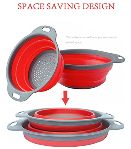 Collapsible Colander / Kitchen Strainer Set of 2 Premium Food-Grade Silicone Large Sizes 4 & 5 Quarts Space Saver/ Dishwasher Safe/Heat Resistant BPA Free/Non-Slip Handles/2 different colors (Red)