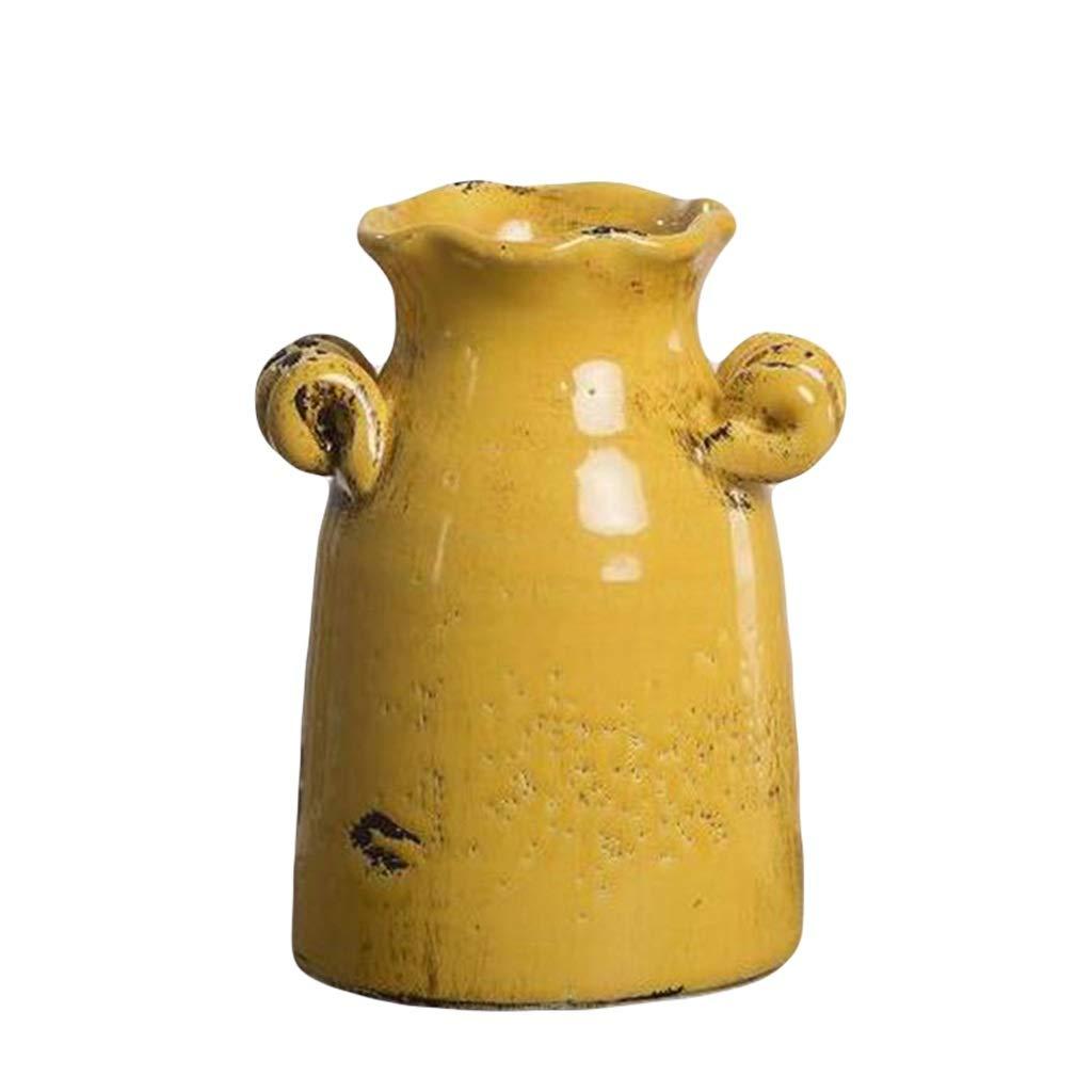 MAHONGQING 花瓶アメリカのリビングルームシミュレーションフラワーアレンジメント花ヴィンテージ粘土ポットフラワーセラミックドライフラワー花瓶テレビキャビネット装飾飾り B07RS2QDX2