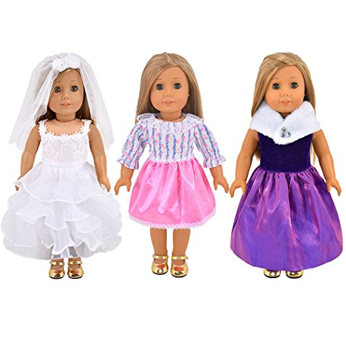 ebuddy 3pc/Set Wedding Dress and Pricess Elegant Dress Style Doll Clothes for 18 inch American Girl