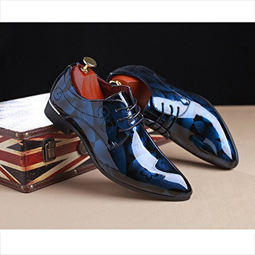 O & N Mens Moderno Lace Up In Pelle Oxford Dress Scarpe Business Casual Blu