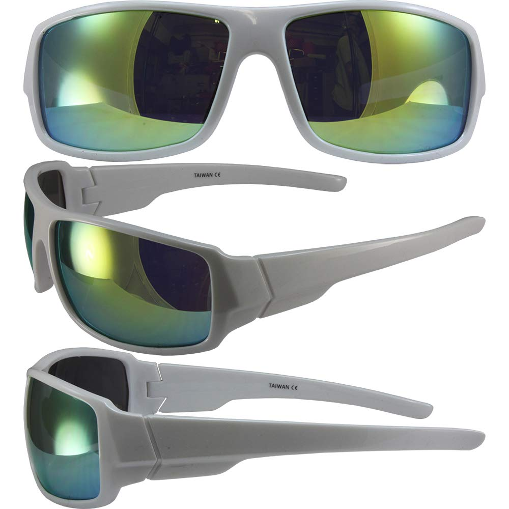5502cd8443a Amazon.com  Global Vision Eyewear Swag Underground Sunglasses White Wrap  Around Frames Yellow Mirror Lenses  Clothing