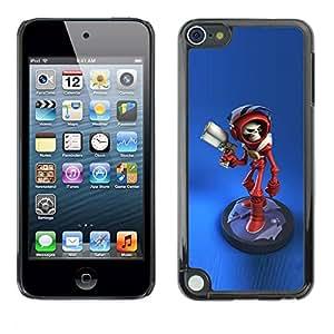 PC/Aluminum Funda Carcasa protectora para Apple iPod Touch 5 blue alien laser gun game character / JUSTGO PHONE PROTECTOR