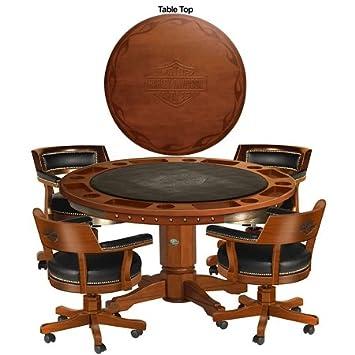 Amazon harley davidson bar shield flames poker table harley davidson bar shield flames poker table chairs heritage brown watchthetrailerfo