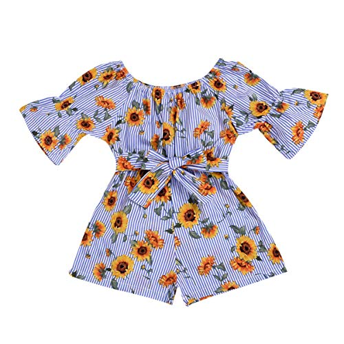 Divilon Infant Toddler Baby Girls Outfit Off-Shoulder Rose Floral PrintOverall Romper Jumpsuit Trousers Clothes (Blue, 18-24 Months)
