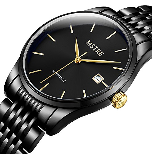 TSS Men's Automatic Ultrathin Watch with Black Stainless Steel Band T8032H2 - Automatic Watch Stainless Steel Band
