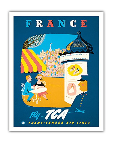 France - Fly TCA, Trans-Canada Air Lines - View of Paris - Vintage Airline Travel Poster by Jacques Le Flaguais c.1954 - Fine Art Print - 11in x 14in