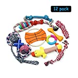 PEHOST Dog Toys Gift Set Pet Chew Rope Toy 12 Pack Teeth Cleaning for Small Medium Dogs