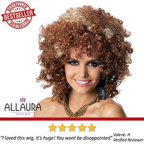 ALLAURA 60s and 70s Afro Wig for Women! Big Brown Blonde Short Curly Disco Costume Wigs by ALLAURA (Image #1)