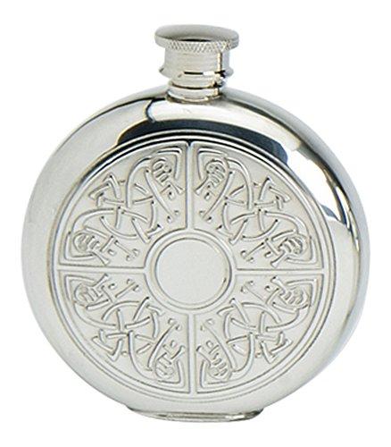Celtic Sporran Flask (Stylish Slimline 6oz Round Polished Pewter Handcast Bottle Pocket Hip Flask Featuring Celtic Quadrant Insert)