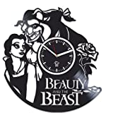 Movie Beauty And The Beast, Vinyl Wall Clock Handmade, Best Gift for Girl, Vinyl Record, Kovides, Room Decoration Kidroom Inspirational, Silent Mechanism, Wall Sticker, Modern Wall Art