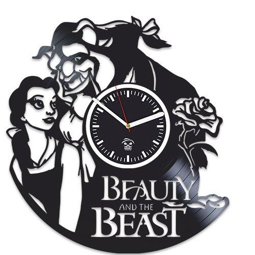 Movie Beauty And The Beast, Vinyl Wall Clock Handmade, Best Gift for Girl, Vinyl Record, Kovides, Room Decoration Kidroom Inspirational, Silent Mechanism, Wall Sticker, Modern Wall Art by Kovides