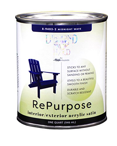 Majic Paints 8-9403-2 Diamond Hard Interior/Exterior Satin Paint RePurpose your Furniture, Cabinets, Glass, Metal, Tile, Wood and More, 1-Quart, Midnight Wave