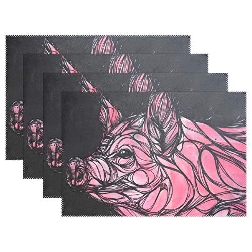 HEOEH Pink Pig Animal Art Line Placemats Table Mat Heat Resistant Washable Place Mats for Kitchen Dining Room (Pig Line Art)