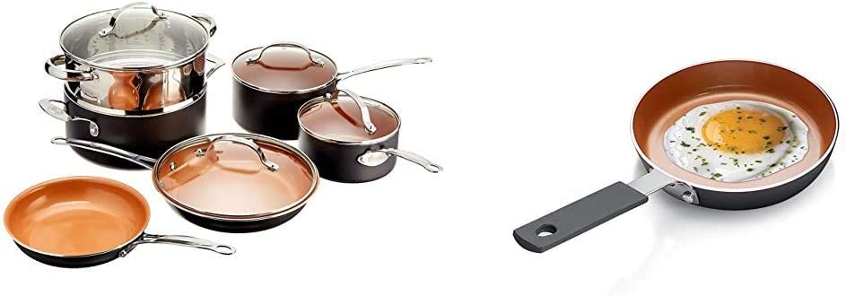 Gotham Steel Pots and Pans 10 Piece Cookware Set – Graphite, Fry, Stock Steamer Insert & Mini Egg and Omelet Pan with Ultra Nonstick Titanium & Ceramic Coating - 5.5
