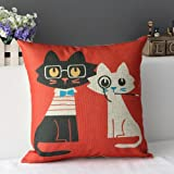 Cotton Linen Pillow Case Cushion Cover Home Decorative Lover Cat 18 X 18 Inch (1)