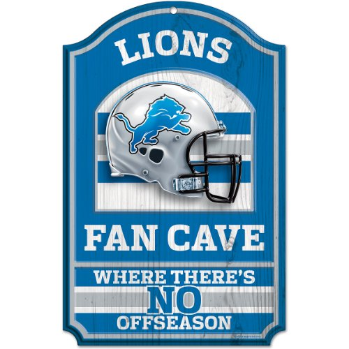 WinCraft NFL Detroit Lions Fan Cave Wood Sign, 11