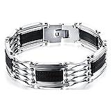 Wonlines Hip Hop Classic Titanium Steel Silica Gel Magnet Chain Bracelet,Width 18MM(White Black)