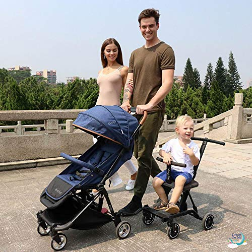 Dream On Me, Coast Stroller Rider, Lightweight, One Hand Easy Fold, Travel Ready, Strudy, Adjustable Handles, Soft-ride Wheels, Easy To Push, Gray