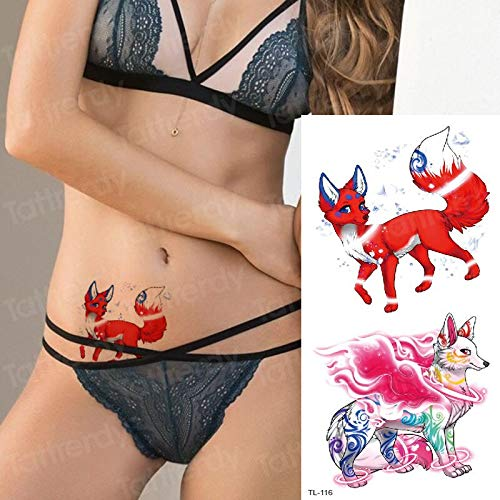 tzxdbh Chica Tatuaje Temporal Zorro Mujeres Sexy Tatuaje Animales ...