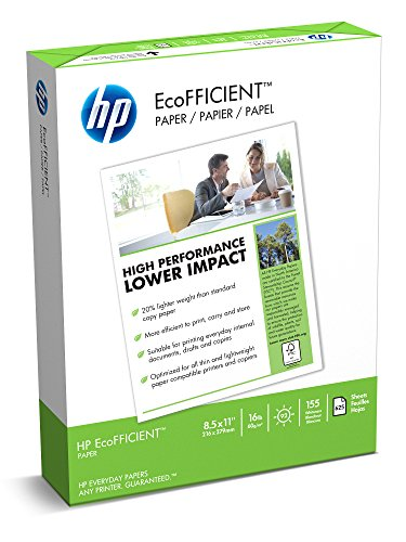 HP Paper, EcoFFICIENT Copy Paper, 16lb, 8.5x11, Letter,  92 Bright, 625 Sheets / 1 Ream (216000), Made In The USA