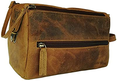 Handmade Buffalo Genuine Leather Toiletry Bag Dopp Kit Shaving and Grooming Kit for Travel ~ Gift for Men Women ~ Hanging Zippered Makeup Bathroom Cosmetic Pouch Case by Vintage Coutoure