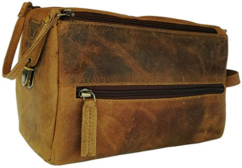 Handmade Buffalo Genuine Leather Toiletry Bag Dopp Kit Shaving and Grooming Kit for Travel ~ Gift for Men Women ~ Hanging Zippered Makeup Bathroom Cosmetic Pouch Case by Devil Hunter (BROWN BUCKLE)