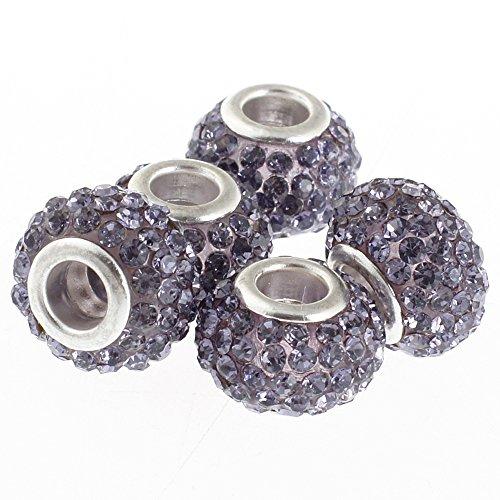 RUBYCA Big Hole Handmade Czech Crystal Slide Beads fit European Charm Bracelet (5pcs, Purple, 11mm)